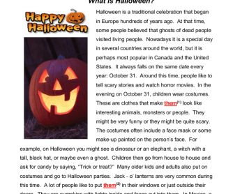 What is Halloween?  Reading & Grammar Practice