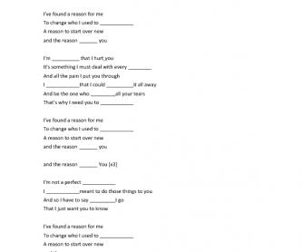 Song Worksheet: The Reason by Hoobastank