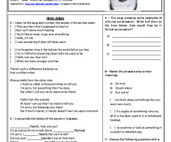 Song Worksheet: Hello by Adele with Biogrpaphy