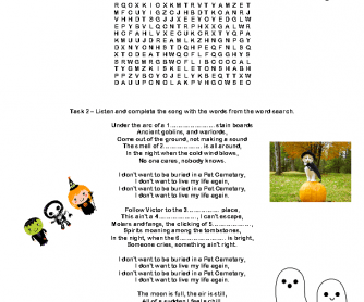 Song Worksheet: Pet Cemetery by Ramones