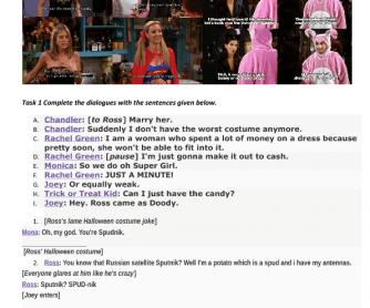 Movie Worksheet: Friends, Season 8, Episode 6- Halloween Party