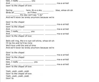 Song Worksheet: Chapel of Love