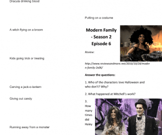 Movie Worksheet: Halloween (Modern Family - Season 2, Episode 6)