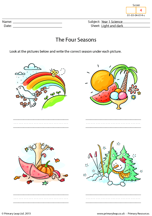 the Four Seasons – Season Worksheets