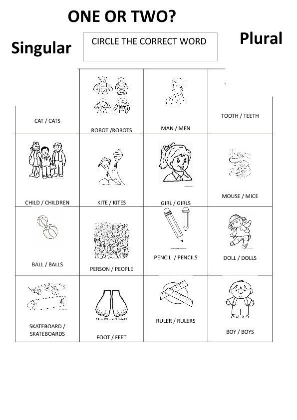 161 FREE SingularPlural Nouns Worksheets – Irregular Plural Noun Worksheets