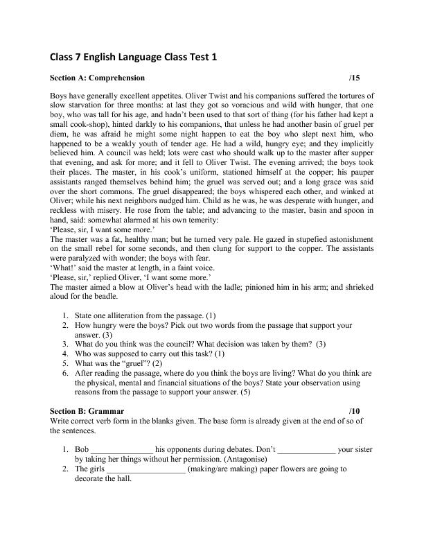 Comprehension worksheets for grade 6 online