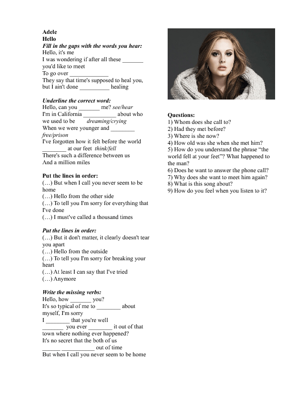 Worksheet: Hello by Adele