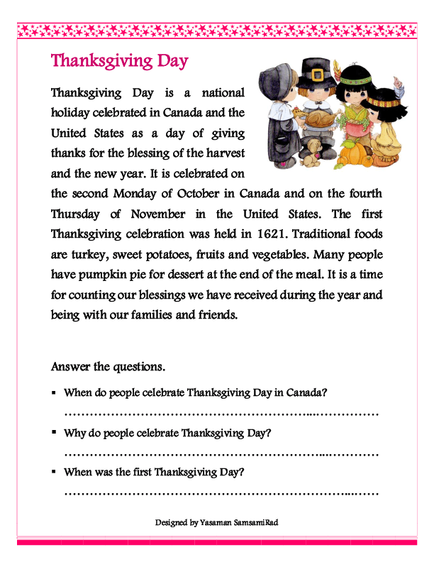Thanksgiving Reading Comprehension Worksheets Free Worksheets ...