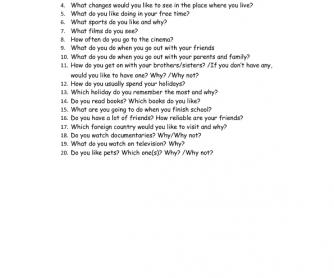 Speaking Test FCE Part 1