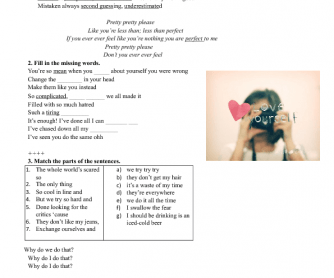 Song Worksheet: Perfect by Pink (Personality and Character Adjectives)