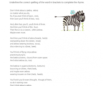 Poetry - Don't Think about a Zebra
