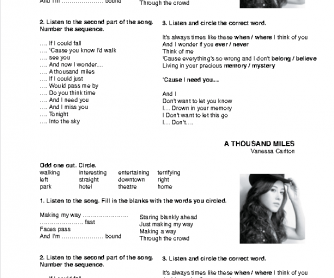 Song Worksheet: A Thousand Miles