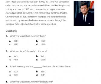 Comprehension - John F. Kennedy