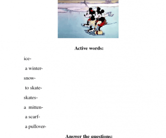 Movie Worksheet: Mickey Mouse on Ice