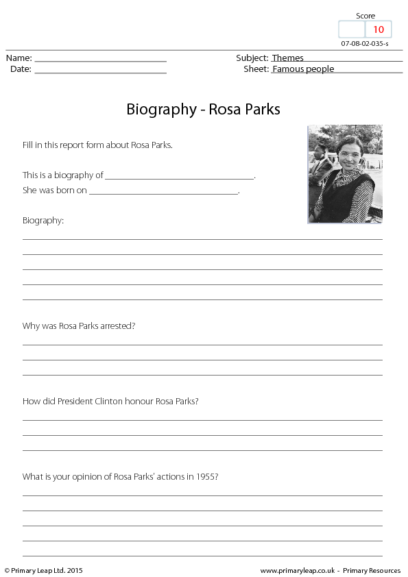 {Parks Research Activity – Rosa Parks Worksheet