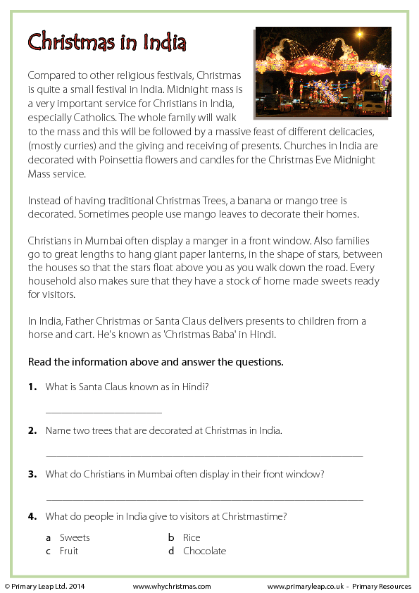 Christmas History In Hindi.Reading Comprehension Christmas In India