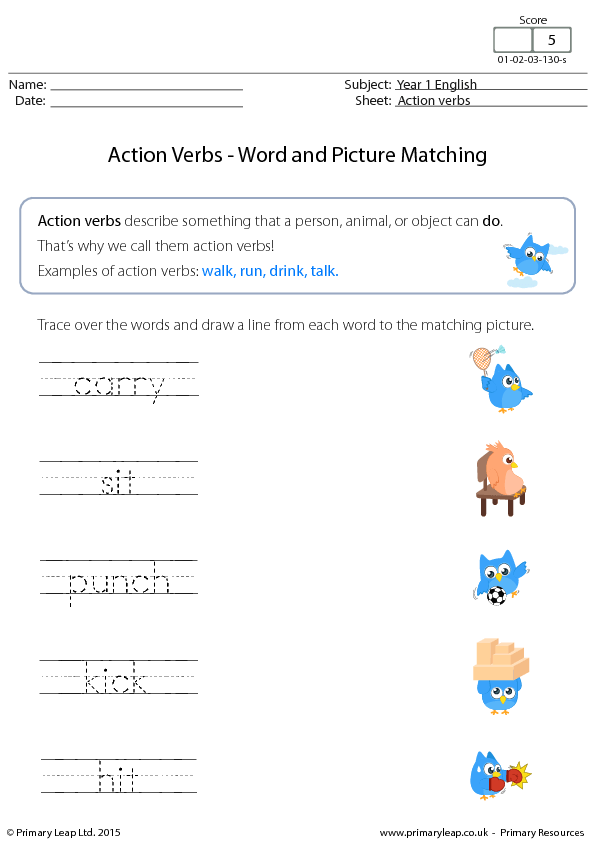 Action Verbs Word And Picture Matching 1