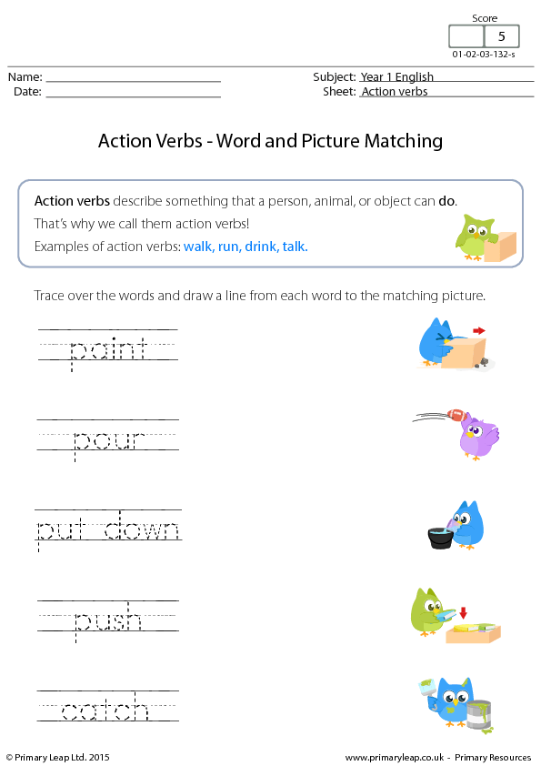 Action and linking verbs worksheet works