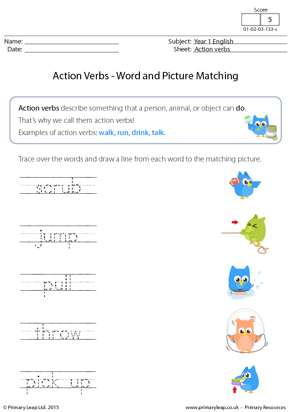 Action Verbs Word And Picture Matching (3) Verbs Main Verbs Worksheet Free Free Verb Worksheets #16