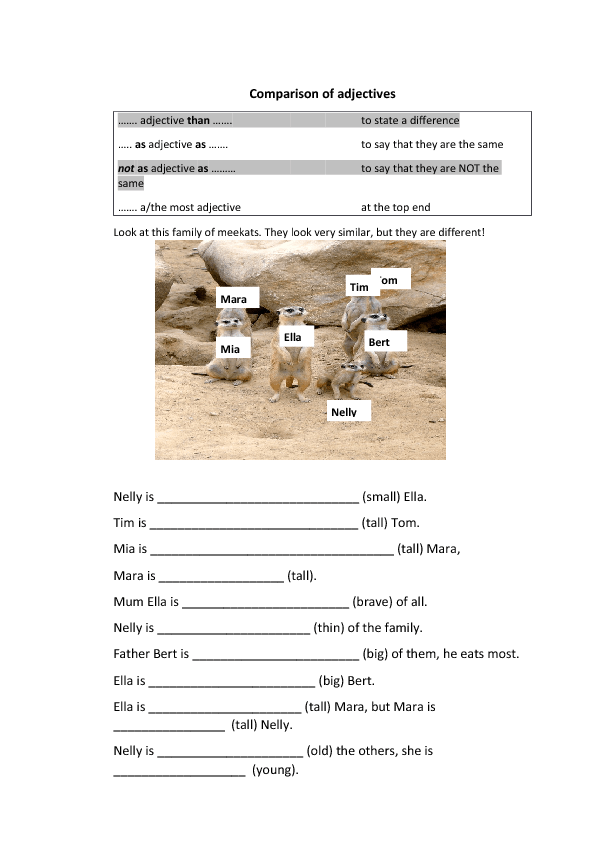 327 FREE Degrees Of Comparison Worksheets Teach Degrees of – Comparative Adjectives Worksheets