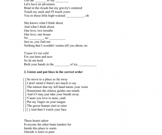 Song Worksheet: Sweater Weather by The Neighbourhood