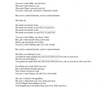 Song Worksheet: Natural disaster by Pentatonix
