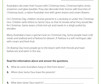Reading Comprehension - Christmas in Australia