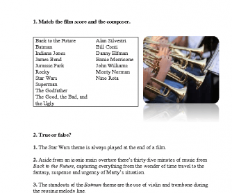 Movie Worksheet: Top 10 Iconic Instrumental Film Scores