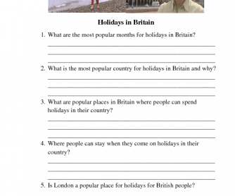 Movie Worksheet: Holidays in Britain