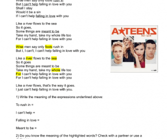 Song Worksheet: Can't Help Falling in Love with You by A-Teens