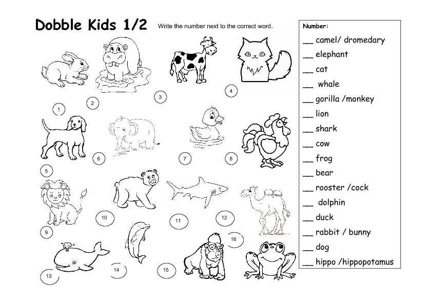 dobble kids animal worksheet. Black Bedroom Furniture Sets. Home Design Ideas