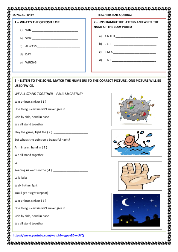 Song Worksheet We All Stand Together