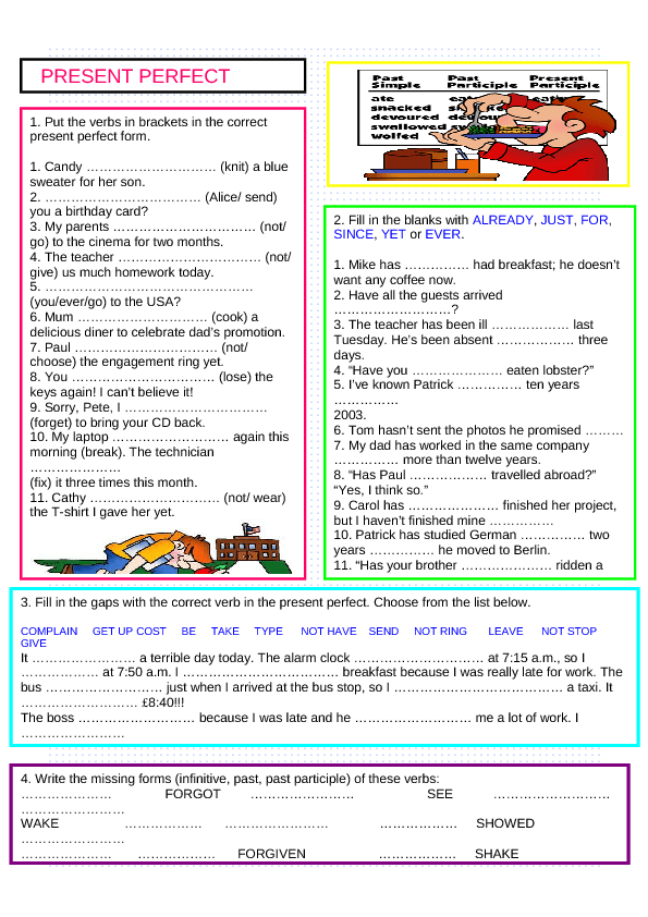 294 free present perfect worksheets  teach present perfect