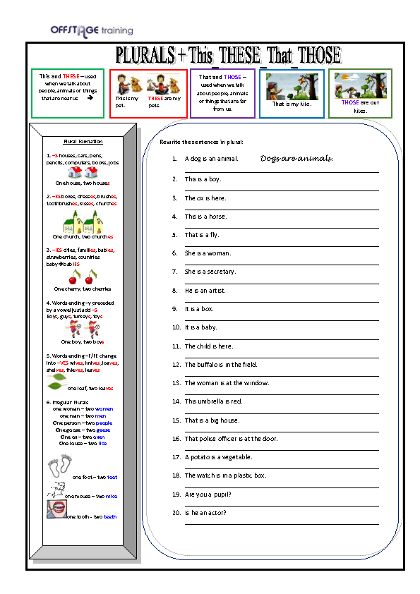 ... Plurals + This-These-That-Those Plurals and Suffixes Worksheet