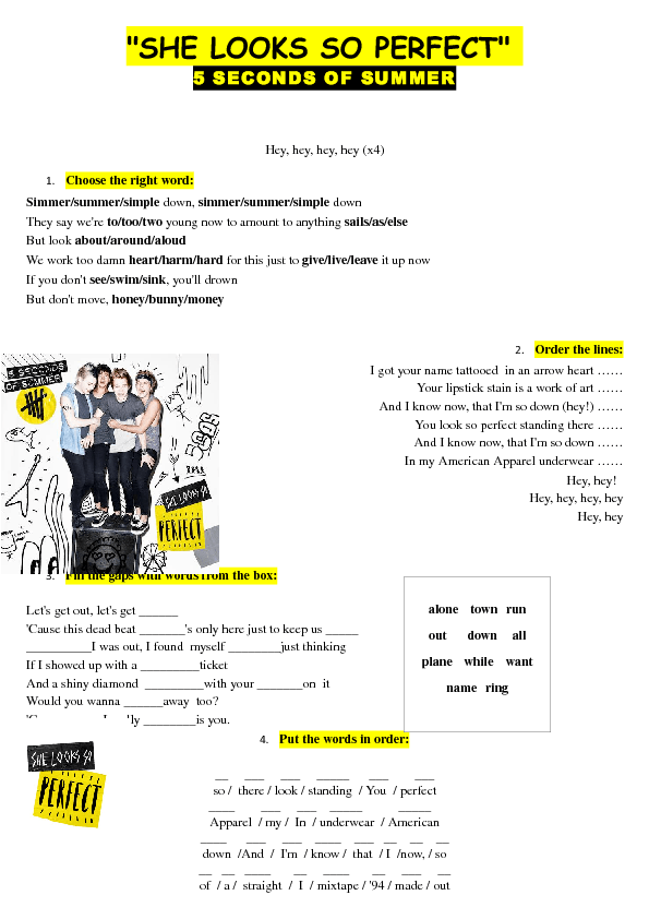 Song Worksheet She Looks So Perfect By 5 Seconds Of Summer