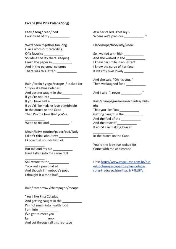 Song Worksheet Escape The Pi 241 A Colada Song By Rupert Holmes