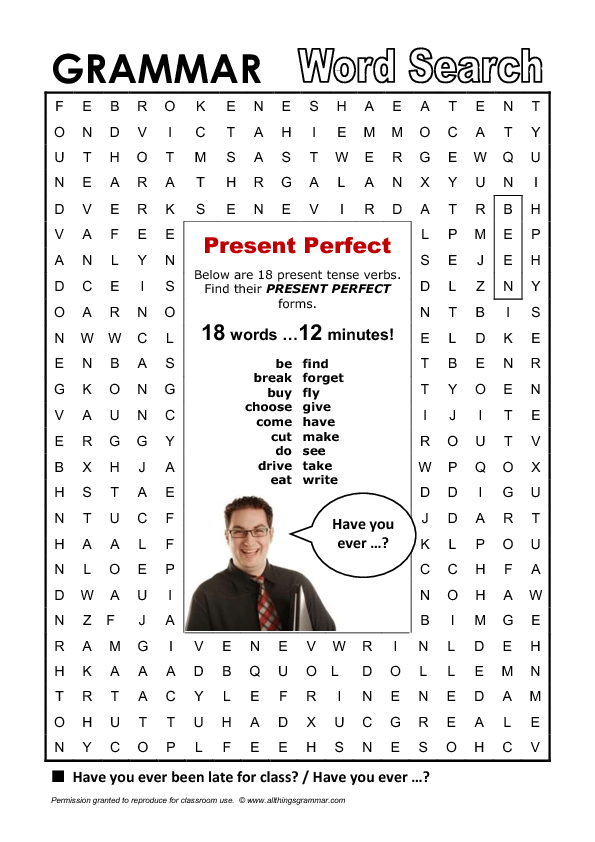 present perfect word search