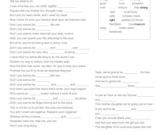Song Worksheet: Evil Like Me (Descendants Disney Movie)