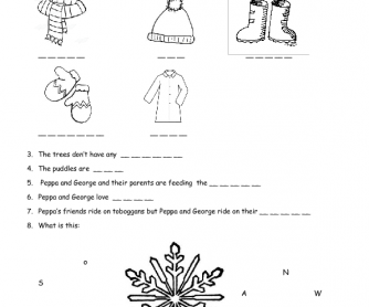 Movie Worksheet: Peppa Pig, Cold Winter Day