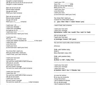 Song Worksheet: Bad Romance by Lady Gaga