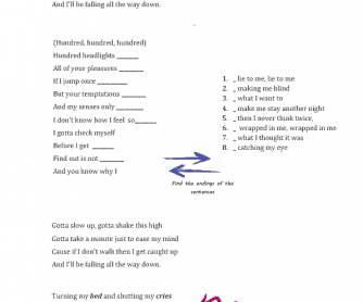 Song Worksheet: Walk by Kwabs
