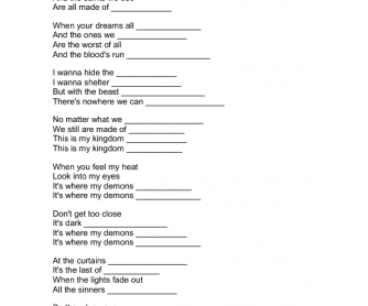 Song Worksheet: Demons by Imagine Dragons (Non-violence Day)
