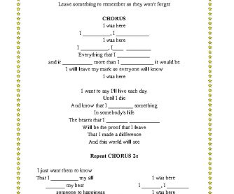 Song Worksheet: I Was Here by Beyoncé (Simple Past and