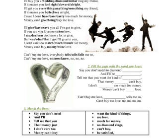 Song Worksheet: Can't Buy Me Love by the Beatles