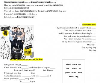 Song Worksheet: She Looks So Perfect by 5 Seconds of Summer