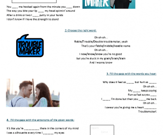 Song Worksheet: Troublemaker by Olly Murs feat. Flo Rida