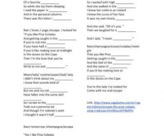 Song Worksheet: Escape (the Piña Colada Song) by Rupert Holmes