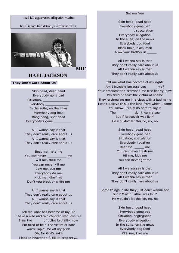 Song Worksheet They Don T Care About Us By Michael Jackson