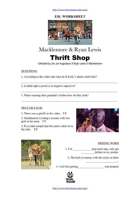 Video Worksheet Thrift Shop by Macklemore and Ryan Lewis – Video Worksheets