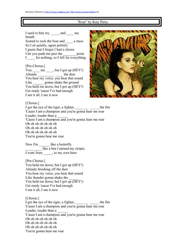 song worksheet  roar by katy perry